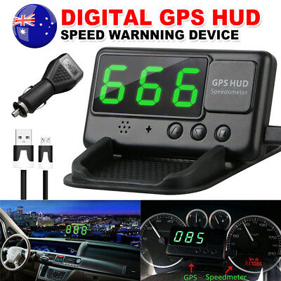 2018 GPS HUD Speedometer Digital Heads Up LCD Display Car Speed Warning Plug