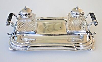 Vintage silver plated desk inkwell stand set