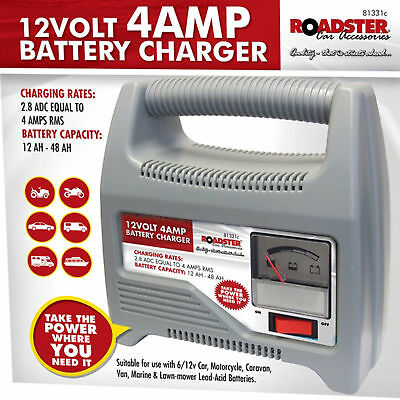 12V 4AMP Car Battery Charger With Jump Starter Booster Lead PORTABLE NEW