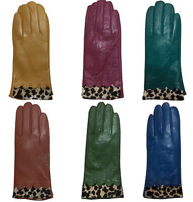 Ladies Women Soft Real Leather Gloves Fully Lined with Leopard Print Trim New UK
