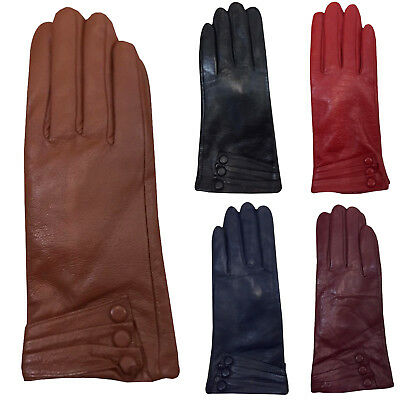 Women Button Style Soft Real Leather Gloves Ladies Warm Winter Dress Gloves