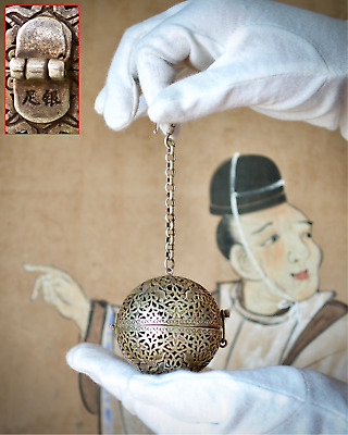 Rare Chinese Antique Silver Openwork Sphere Incense Censer (Xunqiu) - SEE INFO