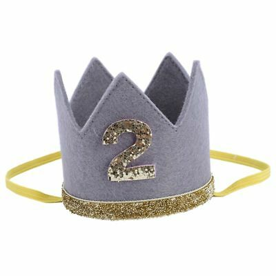 2X(Baby Boy Girl First Birthday Hat Crown Numbers Headband Tiara Party PhotS1Z9)