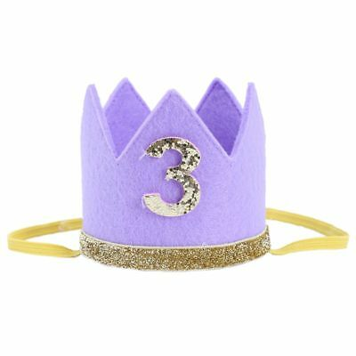 2X(Baby Boy Girl First Birthday Hat Crown Numbers Headband Tiara Party PhotD1J2)