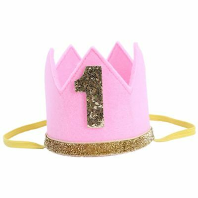 2X(Baby Boy Girl First Birthday Hat Crown Numbers Headband Tiara Party PhotS3M7)
