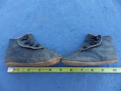 Vintage Black Leather Four Button Baby Toddler Shoes Old Victorian Antique