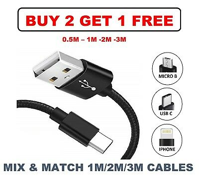 UK 1-3M Fast High Tensile Micro USB Type C Lightning Charging Data Sync Cable