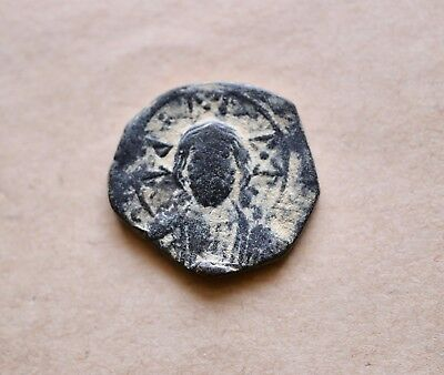 Byzantine Bronze Anonymous Follis With Jesus Christ/ Inscription. Very Nice!