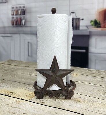 Cast Iron Star Paper Towel Holder Western, Rustic, Country Designed Counter Top