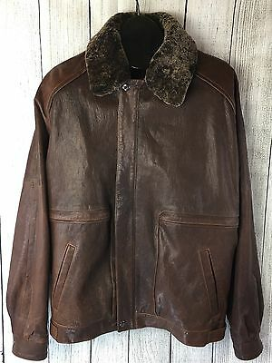 bc4a90b719e02 REMY Mens Brown Soft LEATHER Jacket Coat Sz 40 Double Faux Fur Collar BOMBER  USA