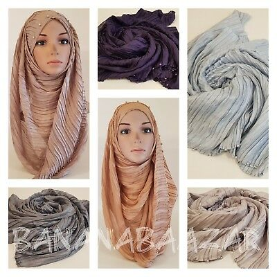 New Prime Crimp Plain Hijab Scarf Maxi Headscarf Large Scarves Shawl Ruffle Maxi