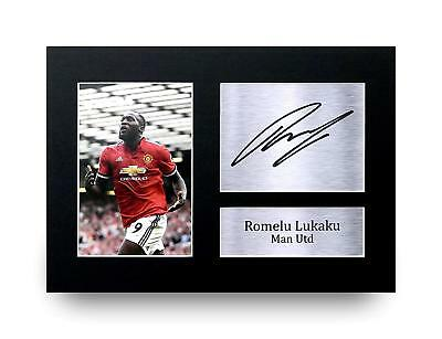 Romelu Lukaku Gift Signed A4 Printed Autograph Print Man Utd Gifts Photo Picture