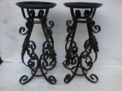 Large Pair of Vintage Ornate Gothic Wrought Iron Candleholders