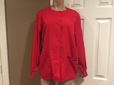 Scrub Jacket RED Cherokee Workwear Snap Front EUC Size XS