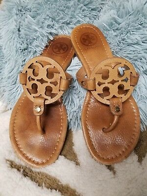 381d42f1b  195 TORY BURCH Miller Vintage Vachetta Brown Leather Flip Flop Sandal in  EUC~7M