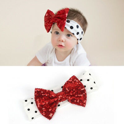 props Hair Accessories Sequin bowknot Elastic Dot printed Baby headband