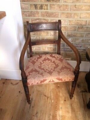 Antique Georgian 18th Century Armchair Chair with pink upholstery