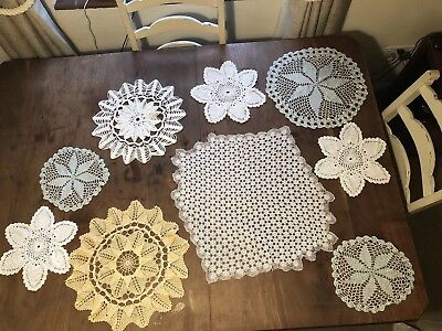 Vintage crochet doilies, table mats, white/blue/apricot. Collection of 9.