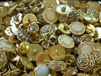125 Fancy Gold & white Flower buttons MIX LOT metallic plastic shank rhinestone