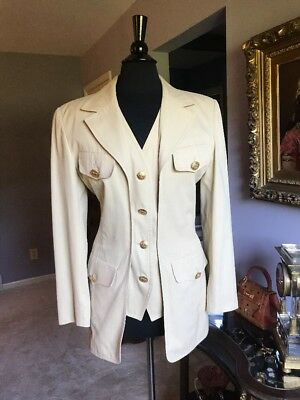 d7996eec189 Escada Fitted Blazer Jacket w/ Attached Vest Size 8 Gold Tone Elephant  Buttons