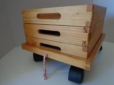 Toy Storage Wagon Cart Wooden Three Trays with Wheels