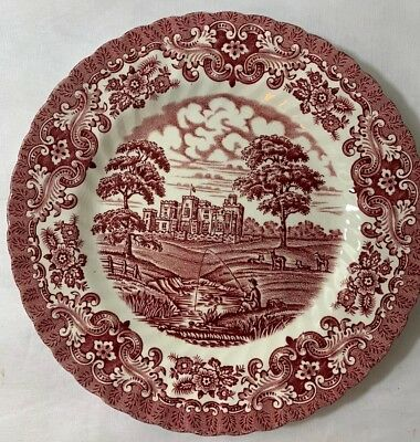 Olde Country Castles Red Plates Ironstone British Anchor England Salad Dinner