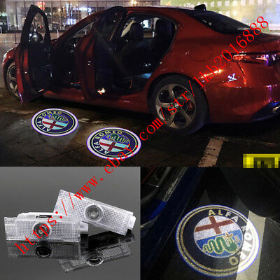 LED Door Projector Courtesy Puddle Logo Lights For Alfa Romeo Stelvio 2017-2019