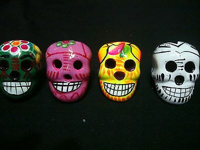Lot of 4 day of dead Sugar Skulls, Mexican pottery, Talavera, catrina, muertos,