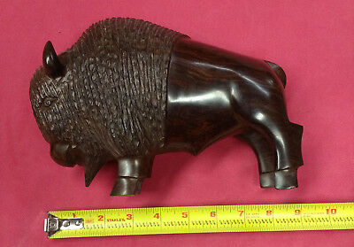 """Beautiful Vintage Ironwood Hand Carved Buffalo Bison ~ 6"""" H x 9"""" L x 3.25"""" W"""