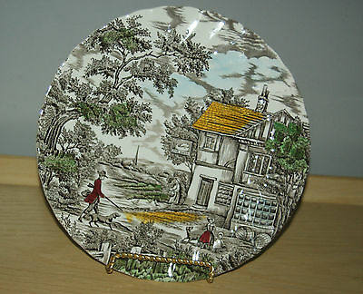 """The Hunter by Myott Hand Engraved 10"""" Dinner souper Plates Collector plate  Engl"""
