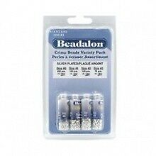 Beadalon Crimp Bead Variety Pack, Mixed Sizes, Silver Plated