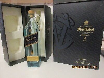Johnnie Walker Blue Label Scotch Whiskey EMPTY BOTTLE, NO GLASSES 750ml Bottle