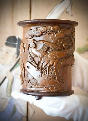 Chinese Antique Carved Bamboo Scholar 'Cranes' Brushpot (bitong), Qing dynasty