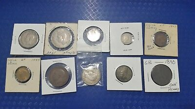 Vintage Great Britain Coin Lot Of 10 Collectible Coins