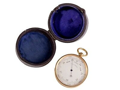 FREE SHIP: Antique Victorian Brass Pocket Barometer in Leather Case