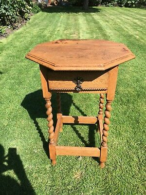 Antique solid Oak Barley Twist Oval Occasional Side Table with drawer