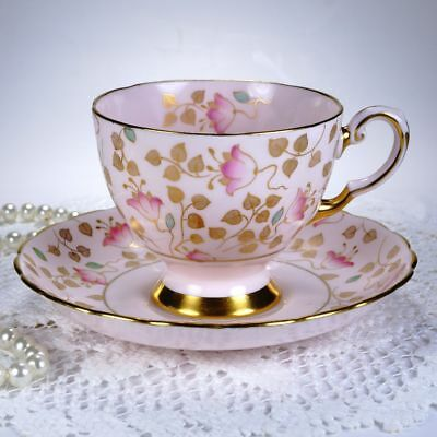 Tuscan English Fine Bone China Tea Cup and Saucer, Pink Chintz / Gold Leaves