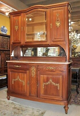 French Walnut Wood Marble Top Sideboard Buffet Cabinet | Dining Room Furniture