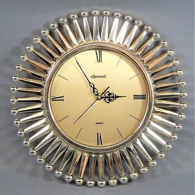 "Vintage 16.5"" Ingersoll Atomic Sunburst Silver Wall Clock Chrome Plastic Working"