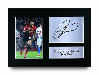 Marcus Rashford Gift Signed A4 Printed Autograph Print Man Utd Gifts Photo