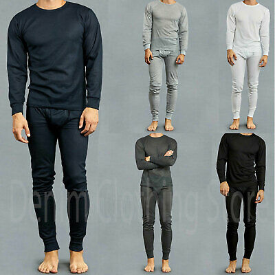 Mens 2 pc Thermal Underwear Set Long Johns Waffle Knit Top Bottom S M L XL XXL