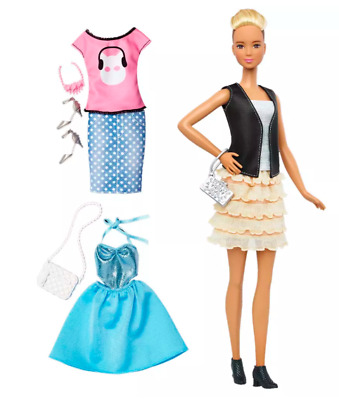 Barbie Fashionistas Doll With 3 Complete Outfits Shoes & Accessories Kids Toy