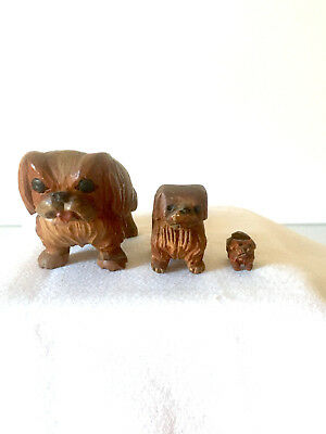 2 - Hand Carved Wooden Pekingese Dogs - (Anri?)