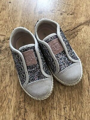 NEXT Kids Girls Silver Glitter Sparkly Pumps / Shoes / Trainers Slip-on, Size 5