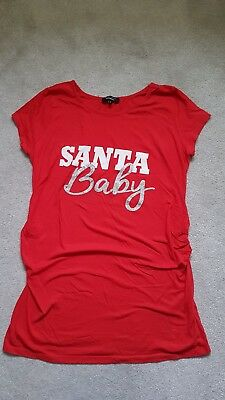 a833863704d New Look Christmas Maternity Top Tshirt Santa Baby Size 14