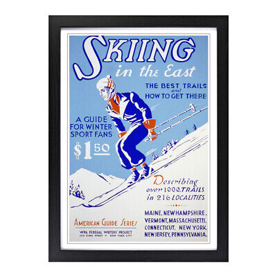 Framed Picture Print A2 Vintage Ski Travel Poster 6 Advertisement Wall Art