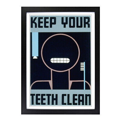Framed Picture Print A2 Vintage WPA Poster Keep Your Teeth Clean Wall Art