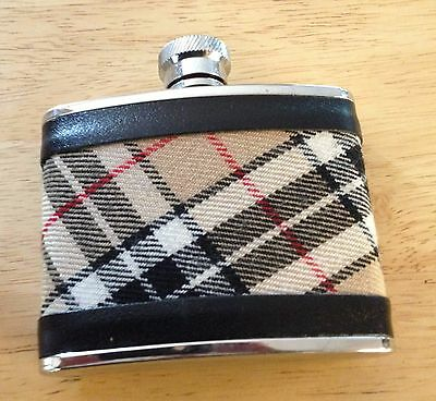 Stainless Steel 4 FL Oz. Plaid Flask Made in England Slightly Used