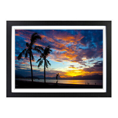 Landscape Beach Sunset 3 Scenic Scenery Wall Art Framed Picture Print Size A2