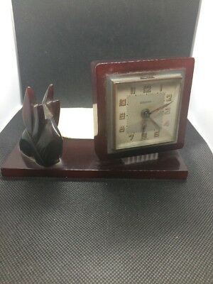 Vintage Art Deco Bakelite Bayard Clock With Dog Figure